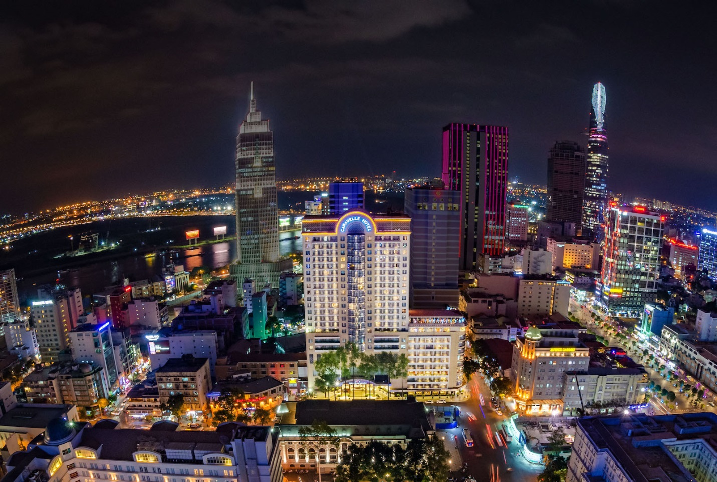 Caravelle Saigon Saigon down view in the light of night time